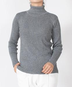 ラメ入り リブタートルネックセーター