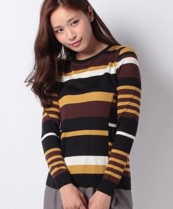 マルチボーダークルーネックセーター
