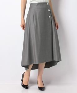 【洗える】ラップ風セミフレアースカート