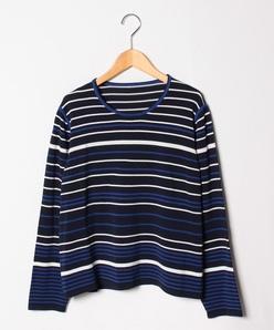 【大きいサイズ】シルクコットンボーダークルーネックセーター