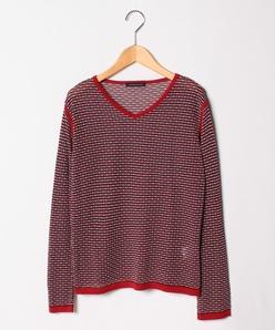 【大きいサイズ/洗える】ジャカードVネックセーター