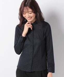 【洗える】ベア天竺×アイレットレースシャツ