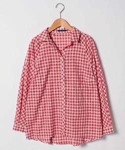 【大きいサイズ】【洗える】ギンガムチェックシャツ
