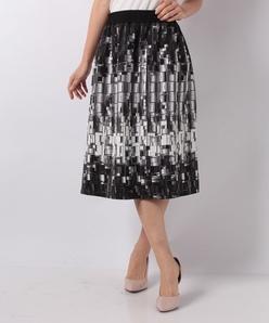 【洗える】ブロックプリントフレアースカート