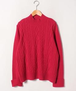 【大きいサイズ】ケーブル編み ハイネックセーター