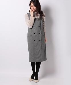 【セットアップ対応】シルクネップヘリンボン ジャンパースカート