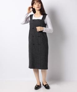 【TV着用】【セットアップ対応】シルクネップヘリンボン ジャンパースカート
