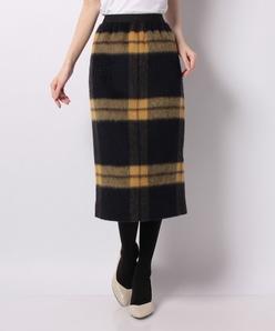 【TV着用】【セットアップ対応】シャギーチェックタイトスカート