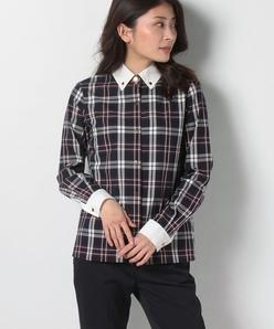 【TV着用】【洗える】トラッドチェック クレリックシャツ