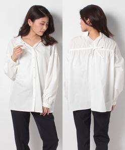 【洗える】ポリエステル/コットンブロード バックリボンシャツ