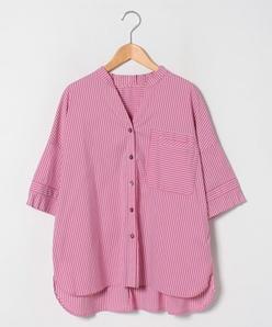【大きいサイズ】【洗える】ストライプ ショートスリーブシャツ