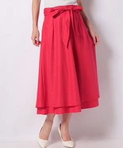 【洗える】ポリエステルコットンブロード リボン付きスカート