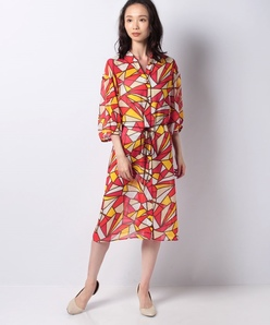 【洗える】ポリエステルシフォン幾何柄プリントドレス