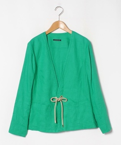 【大きいサイズ】【洗える】フレンチリネン ライトジャケット