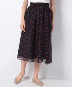 【洗える】【セットアップ対応】ドットプリント楊柳 シャーリングスカート