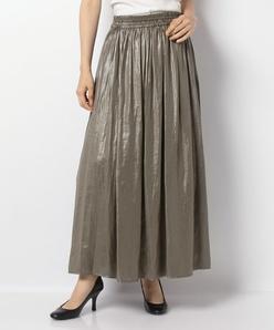 【洗える】レザー調サテンギャザースカート