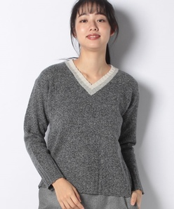 【アンサンブル対応】カシミア混 杢Vネックセーター