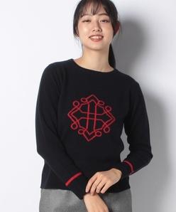 カシミヤ混 インターシャクルーネックセーター