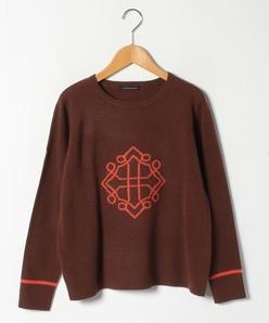【大きいサイズ】カシミヤ混 インターシャクルーネックセーター