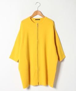 【大きいサイズ】ジップアップ ニットジャケット