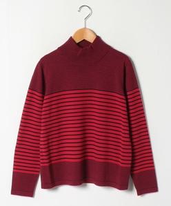 【大きいサイズ】ランダムボーダーハイネックセーター