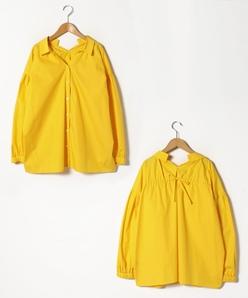【大きいサイズ】【洗える】ポリエステルコットンブロード バックリボンシャツ