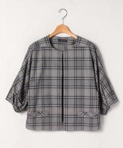 【大きいサイズ】【洗える】グレンチェック ショートジャケット