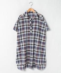 【大きいサイズ】【洗える】コットンリネン マドラスチェック オーバーサイズスキッパーシャツ