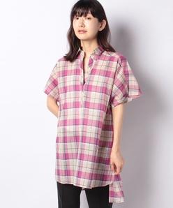 【洗える】コットンリネン マドラスチェック オーバーサイズスキッパーシャツ
