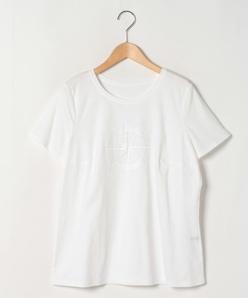 【大きいサイズ】【洗える】コットンスムース 刺繍入りカットソー