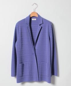 【大きいサイズ】NADIA タック編みテーラーニットジャケット