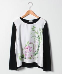 【大きいサイズ】NADIA 花柄プリント布帛使いセーター