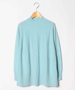 【大きいサイズ】カシミヤ混 パール刺繍セーター