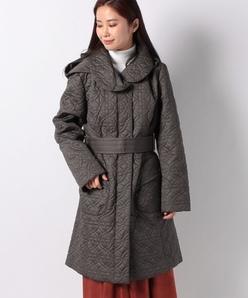 【大きいサイズ】キルト刺繍 中わたタフタコート