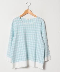 【大きいサイズ/アンサンブル対応】千鳥柄ジャカード編みプルオーバー