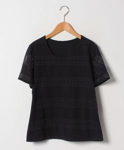 【大きいサイズ】【 セットアップ対応】コットン透かしジャージ Tシャツ