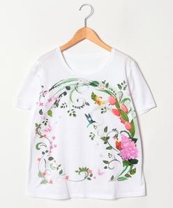 【大きいサイズ】/30周年記念】フローラルパネルプリント コットン天竺/Tシャツ