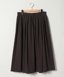 【大きいサイズ】コットンブロードストレッチ/ボックスタック フレアスカート