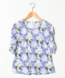 【大きいサイズ/洗える】オリジナルプリントコットン天竺/袖シャーリングTシャツ