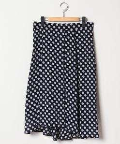 【大きいサイズ】ドットプリントストレッチシフォンフィッシュテールスカート