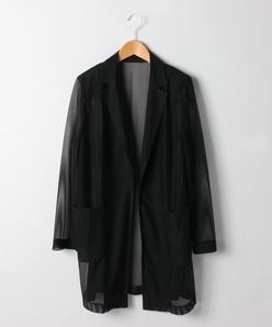 【大きいサイズ】メッシュ調ロングジャケット