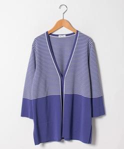 【大きいサイズ/アンサンブル対応】SONA タック編み配色カーディガン