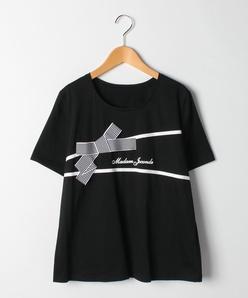 【大きいサイズ】コットン天竺/リボンモチーフTシャツ