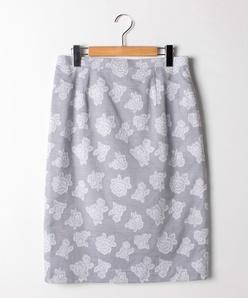 【大きいサイズ】【セットアップ対応】花柄カットジャカード/タイトスカート