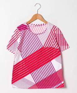 【大きいサイズ/洗える】マルチストライププリントコットン天竺Tシャツ
