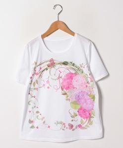 【大きいサイズ】【30周年記念】【洗える】フローラルパネルプリントTシャツ/コットン天竺