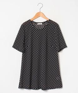 【大きいサイズ/洗える】ドット柄ポリエステル チュニックTシャツ