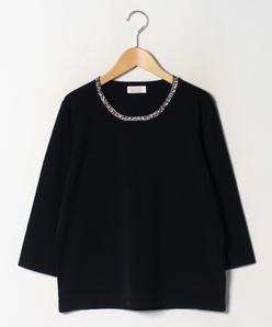 【大きいサイズ】ANA 衿ぐりビーズ刺繍プルオーバー