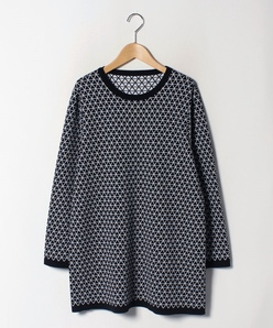 【大きいサイズ】幾何柄ジャカード/チュニック丈セーター