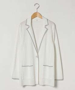 【大きいサイズ】テーラー襟 ニットジャケット